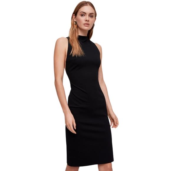NWOT Aritzia Babaton Matheson size 00 Black Fitted Sleeveless Mock Neck Dress